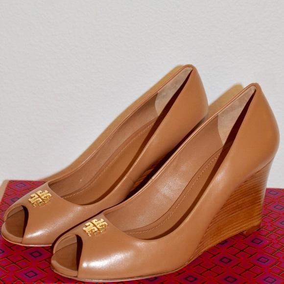 tory burch open toe wedge heels